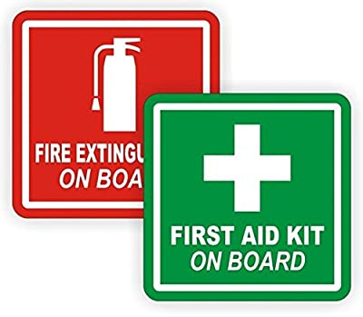 """2 Pcs Overwhelming Unique First Aid Kit and Fire Extinguisher On Board Window Sticker Mac Apple Macbook Laptop Decals Wall Home Luggage Graphics Vinyl Art Stickers Patches Size 2""""x2"""" Color Red-Green"""