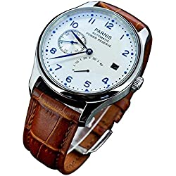 Mens Power Reserve White Polit Dial Blue Numbers Automatic Calendar waterproof Men's Watches