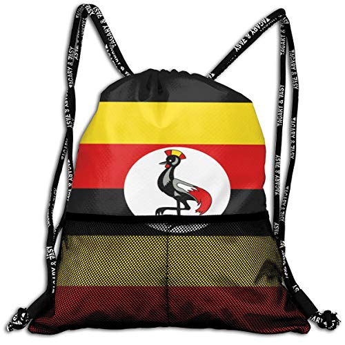 Polyester Drawstring Bag Theft Proof Waterproof Large Shoulder Backpack Large Capacity For Basketball, Volleyball, Baseball, Workout Gear (Flag Of Uganda)
