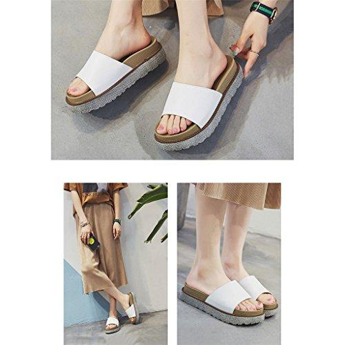 LIXIONG Portátil Sandalias abiertas gordas del dedo del pie de la fricción perezosa del ocio Sandalias planas simples finas y cómodas Sandalias femeninas del desgaste del verano -Zapatos de moda ( Col B