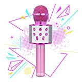 Toy for 5-9 Year Old Girl Kids, Bluetooth Microphone Karaoke for Girls Boys Machine Microphone Music Gifts for 4-12 Year Old Boy Girl Birthday Gift Age 7 8 9 Girl Kids Pink Mic