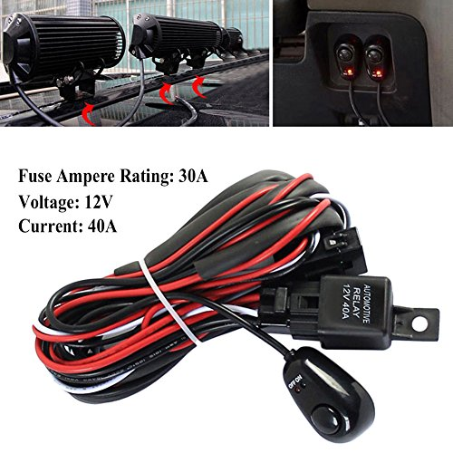 Lembeauty Universal Car Fog Light Wiring Harness Kit Loom For LED Work Driving Light Bar With Fuse And Relay Switch 12V 40A: