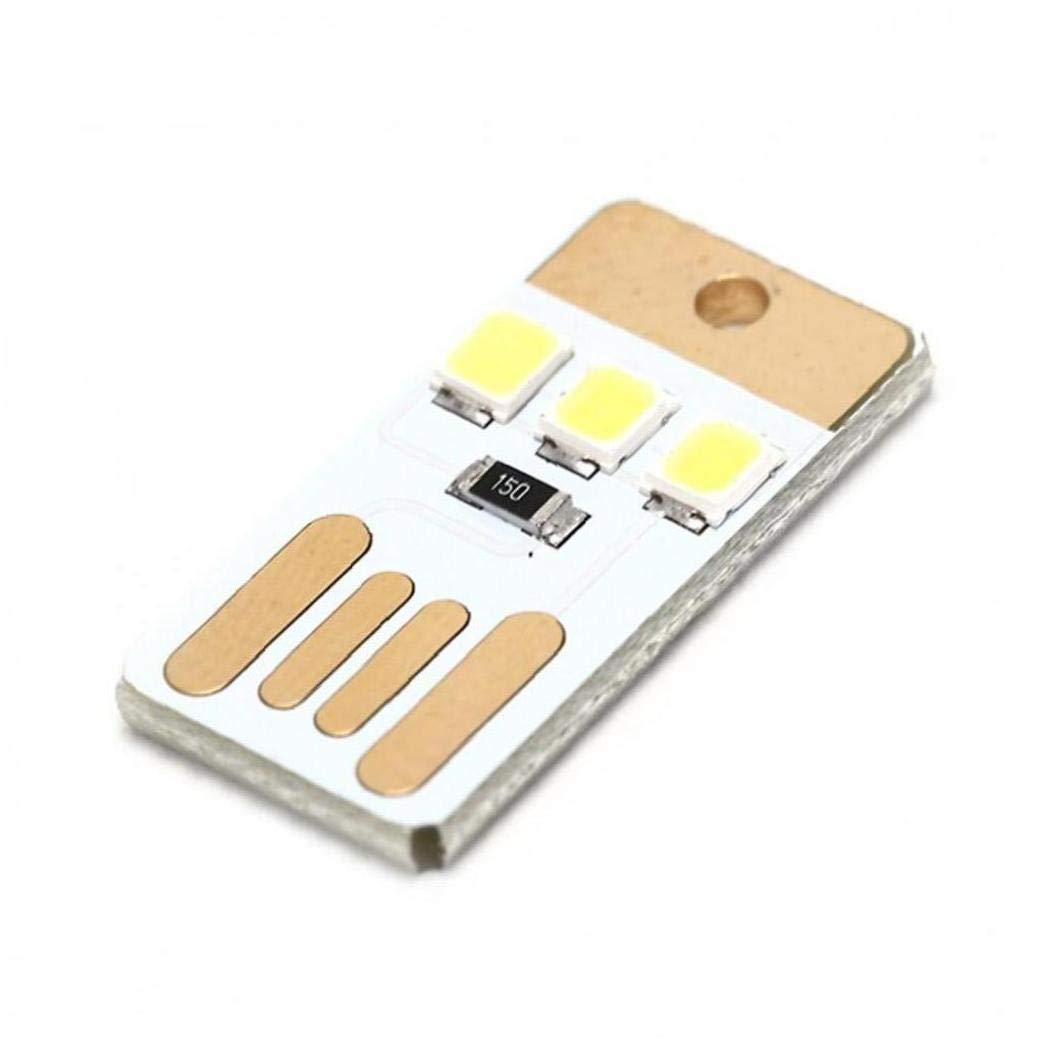 PiniceCore 5Pcs Lot Mini-Taschen-Karten USB-Power-LED Keychain Nachtlicht 0.2W USB LED-Birnen-Buch-Licht f/ür Laptop PC Powerbank Nachttischlampe Schwarz