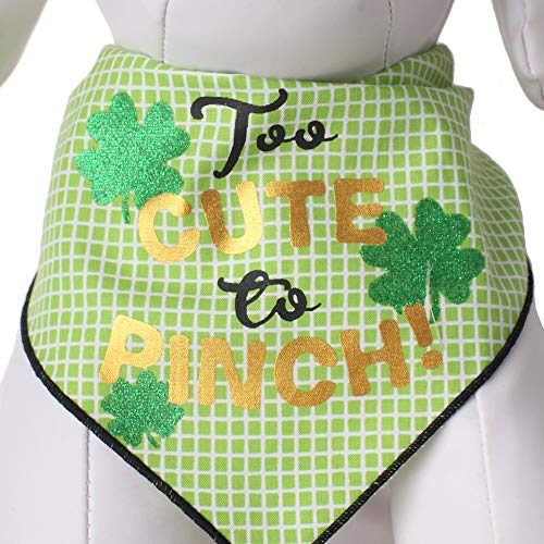 Tail Trends St. Patricks Day Dog Bandanas Too Cute to Pinch Screen Design for Medium to Large Sized Dogs - 100% Cotton]()