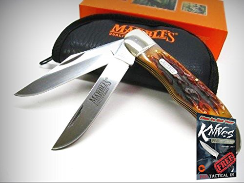 MARBLES Stag Bone 2 Blade HUNTING Hunter Folding Pocket Knife + POUCH! 001118 + free eBook by ProTactical'US -