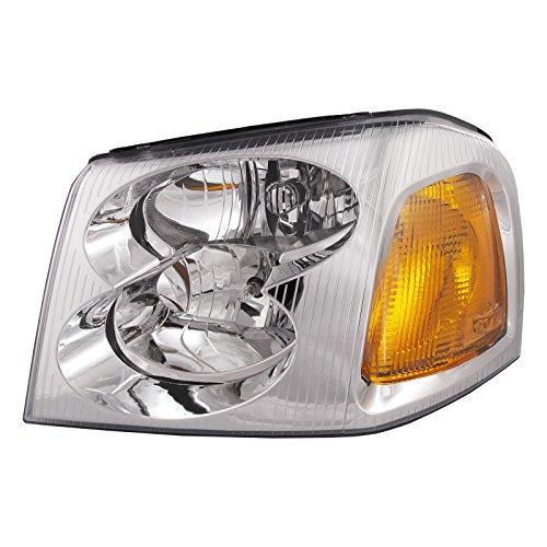 HEADLIGHTSDEPOT Chrome Housing Halogen Headlight Compatible with GMC Envoy 2002-2009 Includes Left Driver Side Headlamp ()