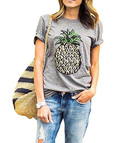 Weigou Women T Shirt Summer Pineapple Printed Short Sleeve Tops Funny T Shirt Girls Tees (L, Gray)
