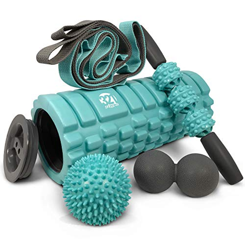 5 In 1 Foam Roller Set Includes Hollow Core Massage Roller with End Caps , Muscle Roller Stick , Stretching Strap , Double Lacrosse Peanut , Spikey Plantar Fasciitis Ball , all in Giftable Box - Teal
