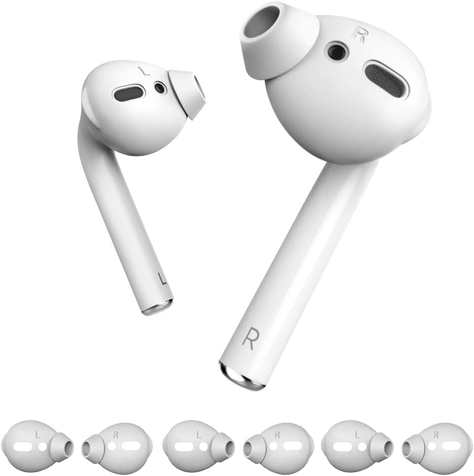 MioHHR 3 Pairs Airpods 1 2 Soft Silicone Covers Tips Apple Earbuds Cover Tips Apple AirPods iPhone Earpods Earphones Accessories, Anti-Slip, Featuring Bass [with Storage Pouch] White