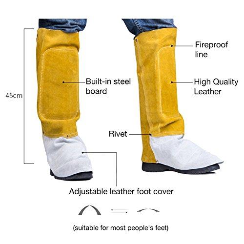 Soldador Polainas mufly Piel de Vacuno pies Cover Welder Ignífugos - Guantes de Soldador, Stitching Lang, 0: Amazon.es: Industria, empresas y ciencia