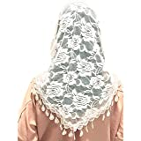 Mass Veil Catholic Church Mantilla White Chapel Lace Shawl or Scarf Latin Mass Head Cover with a Handy Storage Pouch (White) Beatus Veils