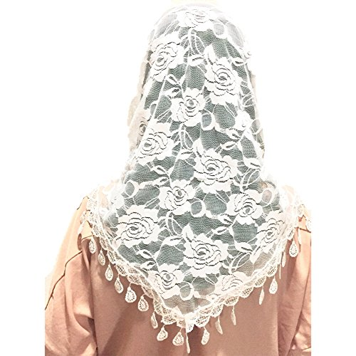 (Mass Veil Catholic Church Mantilla White Chapel Lace Shawl or Scarf Latin Mass Head Cover with a Handy Storage Pouch (White) Beatus Veils)