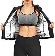 Gotoly Women Sauna Sweat Suit Jacket Fitness Sweat Tops Long Sleeves Waist Trainer Coat Body Shaper Zipper Gym