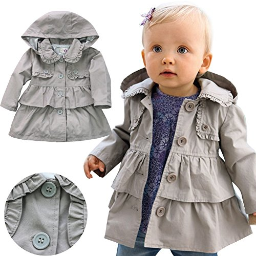 YiZYiF Kids Baby Girls Winter Hooded Trench Coat Wind Jacket Outerwear Grey 3T by YiZYiF