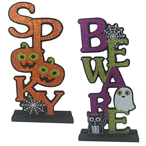 Halloween Decorations Glitter Wood Sign Bundle - Spooky and Beware - Set of -