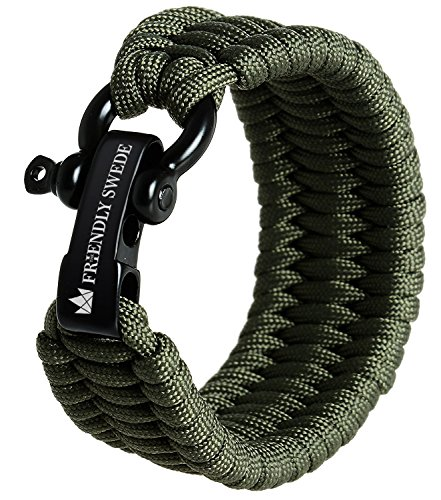 (The Friendly Swede Trilobite Extra Beefy 550 lb Paracord Survival Bracelet with Stainless Steel Black Bow Shackle, Available in 3 Adjustable Sizes (Army Green, fits 7