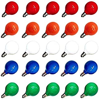 25 Pack G40 Outdoor Patio Globe 5 Watt Replacement Bulbs, Ceramic Multi-Color Christmas Tree Incandescent Replacement Bulb E12/C7 Candelabra Base