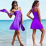 HuntGold Women Lady Sexy Push-up Wrapped Chest Swimming Dress Skirt Swimwear Swimsuit Purple(Size: XL)
