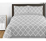Gray and White Trellis Print Lattice Fabric