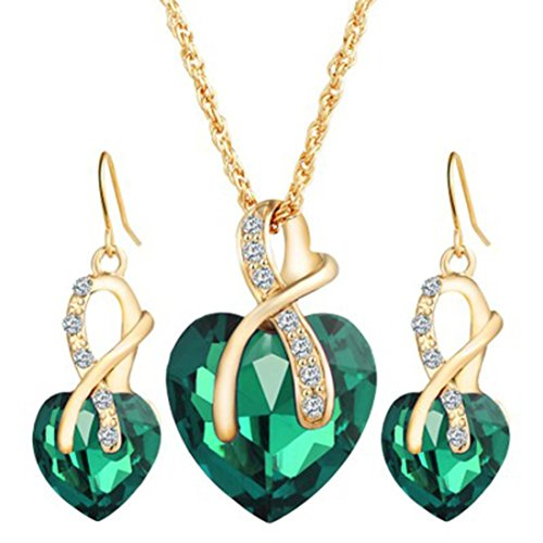 Mother's Day Gift Daoroka Austrian Crystal Fashion Heart Jewelry Sets Necklace Earrings Wedding Party Accessories (Length:44 cm +5cm Earrings 2.9cm, Green)