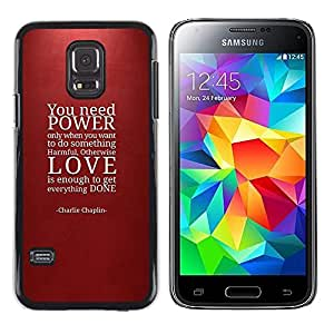 Impact Case Cover with Art Pattern Designs FOR Samsung Galaxy S5 Mini, SM-G800 Power Love Quote Maroon Red Text Betty shop