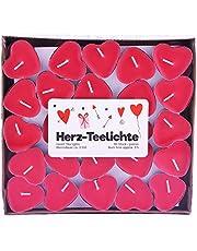 Pajoma Hartvormige theelichtjes, hartvormige kaars, hart Love You in een verpakking van 50 stuks, 3 uur, rood