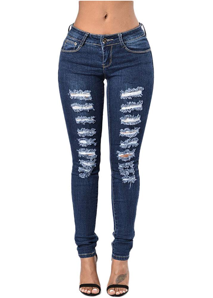 Smibra Womens Stretch Slim Mid Waist Butt Lifting Destroyed Ripped Pencil Jeans