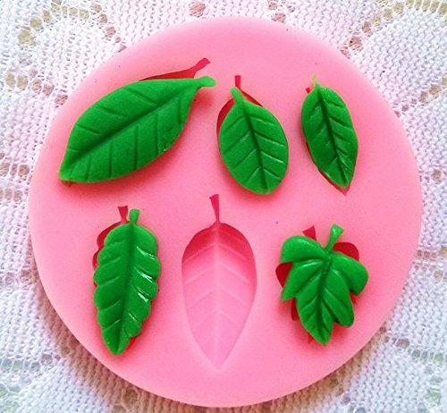Dosige Molde de forma de hoja, 6 cavidad molde tarta molde bizcocho, Molde para fondant de pastel, DIY para Chocolate Hielo Jelly Tarta, Verde size 10cm (Green Leaf)