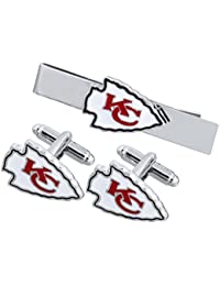 Men's The Team Logo Symbol Series Cufflinks and Tie Clip with Gift Box (10)
