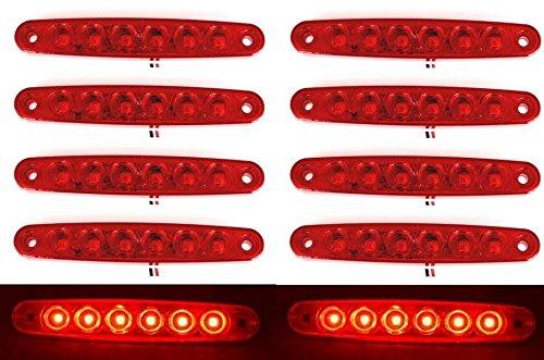 24/7Auto L0083R24 Marcador Luces Traseras para Camió n Trailer Chasis Caravan 6 LEDs 24 V, Rojo, 10 Piezas