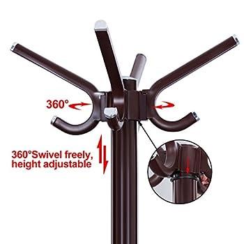 SONGMICS Rotating Hooks Coat Hat Rack Entryway Coat Tree with Base for Coat Hat Purse Jacket Espresso URCR19Z