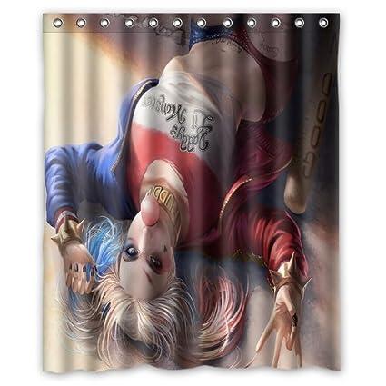 New Custom Harley Quinn Polyester Durable Fabric Shower Curtain 60x72 Inch