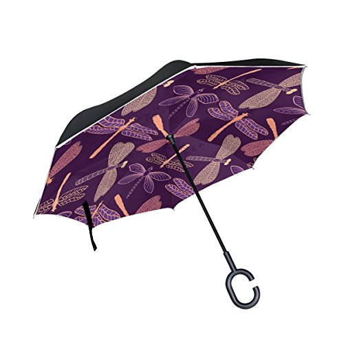 LEISISI Dragonfly Pattern Design Reverse Umbrella Inverted Double Layer Windproof UV Protection Reverse Folding Umbrellas Inverted Umbrella Travel Umbrella with C Shaped Handle