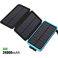 Solar Charger 24000mAh, FEELLE Solar Power Bank Portable Waterproof Dual USB Output Battery Pack for iPhone, iPad, Smart Phone, GoPro Camera and More