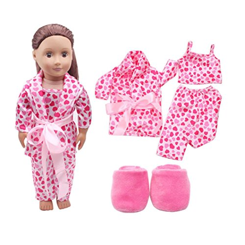 AMA(TM) 5pcs Pajamas Set Outfit Plush Slipper Fits 18 inch American Girl Our Generation Doll (Slippers Outfit)