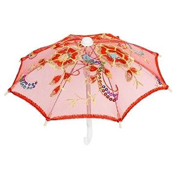 Boda Los niños coloridos de Paillette Accent Mini paraguas de Encaje Rojo