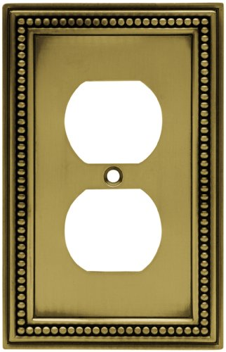 Brainerd 64400 Beaded Single Duplex Outlet Wall Plate / Switch Plate / Cover, Tumbled Antique Brass Antique Bronze Wall Plate