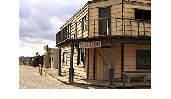 Western Frontier Town 7x3ft Vinyl Photography Backdrop General Store Saloon Old Hotel Stable Cowboy Party Background Studio Portraits Shoot Photo Prop Portraits Shoot Back Drop