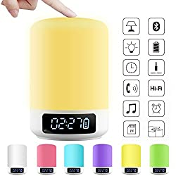 ACRATO LED Bedside Lamp Smart Touch Wireless Bluetooth Speaker Dimmable Color Night Light 4 Level Brightness 6 Colors Changing Mood Music Player TF Card AUX Supported Hands-free Calls Alarm Clock