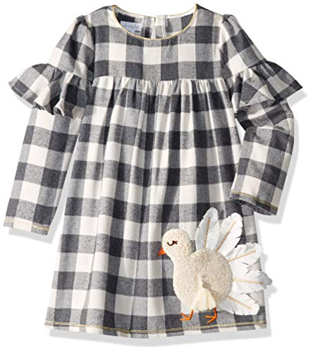 Mud Pie Girls' Little Thanksgiving Turkey Plaid Long Sleeve Casual Dress, Off/Off/White, 4T (Mud Pie Dresses Girls 3t)