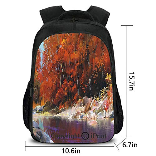 Men and Women Student Backpack,River with Rocks Autumn Forest Peaceful Artistic Paint of Scenic Woods Art,School Bag :Suitable for Men and Women,School,Travel,Daily use,etc.Ginger Purple