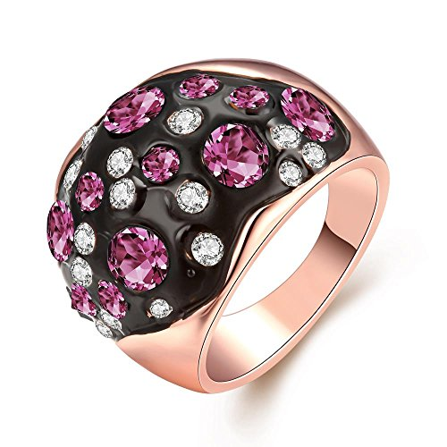 [Personalized Rose Gold Plated Purple Colorful Rhinestone Ring Classic Rings - Night Sky] (1920s Halloween Costumes Antique)