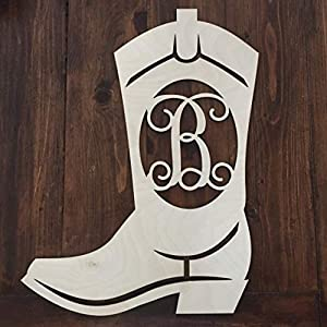 Unfinished Wood Cowboy Boot Monogram Hanger - Cowboy Boot Wreath - Country Western Wreath - Southern Wall Hanger - Monogram Boot Wreath 20