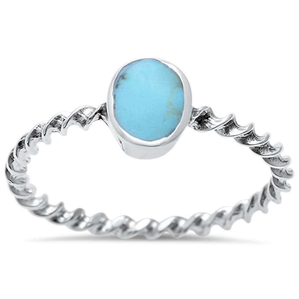 Sterling Silver Oval Turquoise Twisted Band Ring Sizes 8