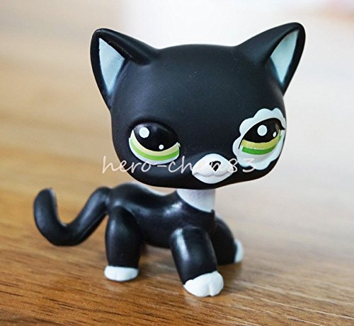 Rare Black Cat Green Eyes Flower Patch Hasbro Littlest Pet Shop LPS Toys #2249 (Pepper Cat Tree)