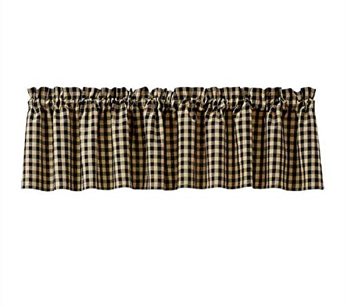 Black and Tan Check Gingham Park Designs Lined Country Window Valance 72
