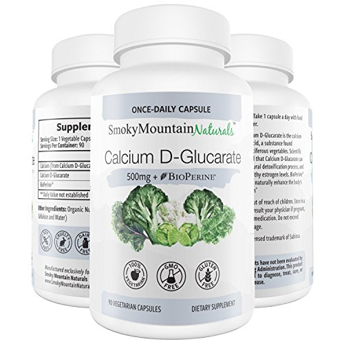Calcium D-Glucarate 500mg 90 Vegan Capsules (Three Month Supply) for Liver Detox, Hormone Balance, Weight Loss, Cholesterol, Prostate, Metabolism, Menopause. Non-GMO, Soy-Free, Gluten-Free Review