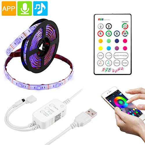 TV Led Strip Lights APP Control 6.56ft for 32-65in TV 5050 LED RGB Backlight Kit with Controller, Waterproof TV Lights with Multi Color, USB Powered