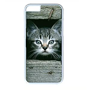 Hard Back Cover Case for iphone 6 Plus,Cool Fashion Art White PC Shell Skin for iphone 6 Plus with Cute Cat