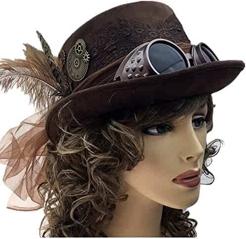Storm Buy   Steampunk Top Hat Mad Scientist Time Traveler Feather Halloween  Costume Cosplay Party Goggles f3ad2744ce82